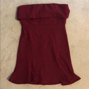 Maroon strapless bodycon dress
